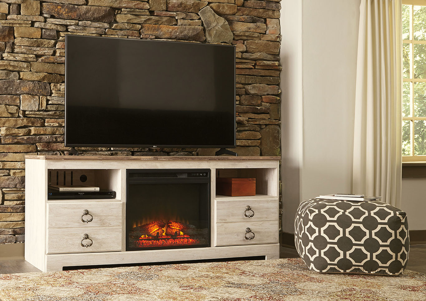 Willowton Whitewash Large TV Stand w/Fireplace Insert,Signature Design By Ashley