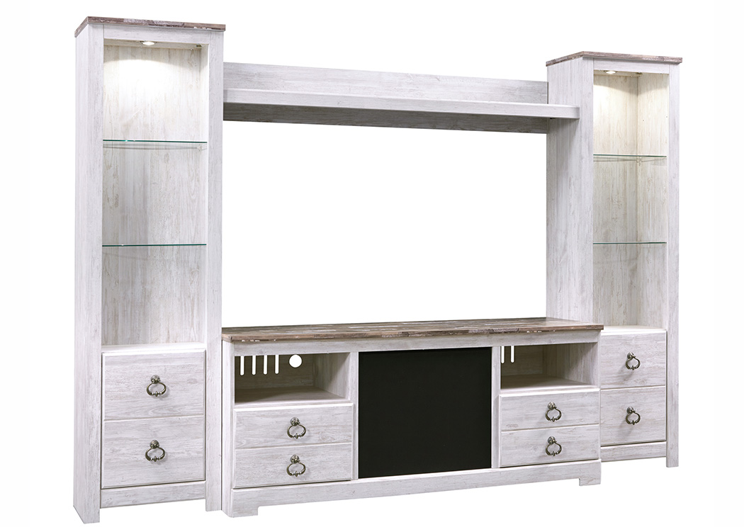 Willowton Whitewash Entertainment Center w/Large Integrated Audio,ABF Signature Design by Ashley