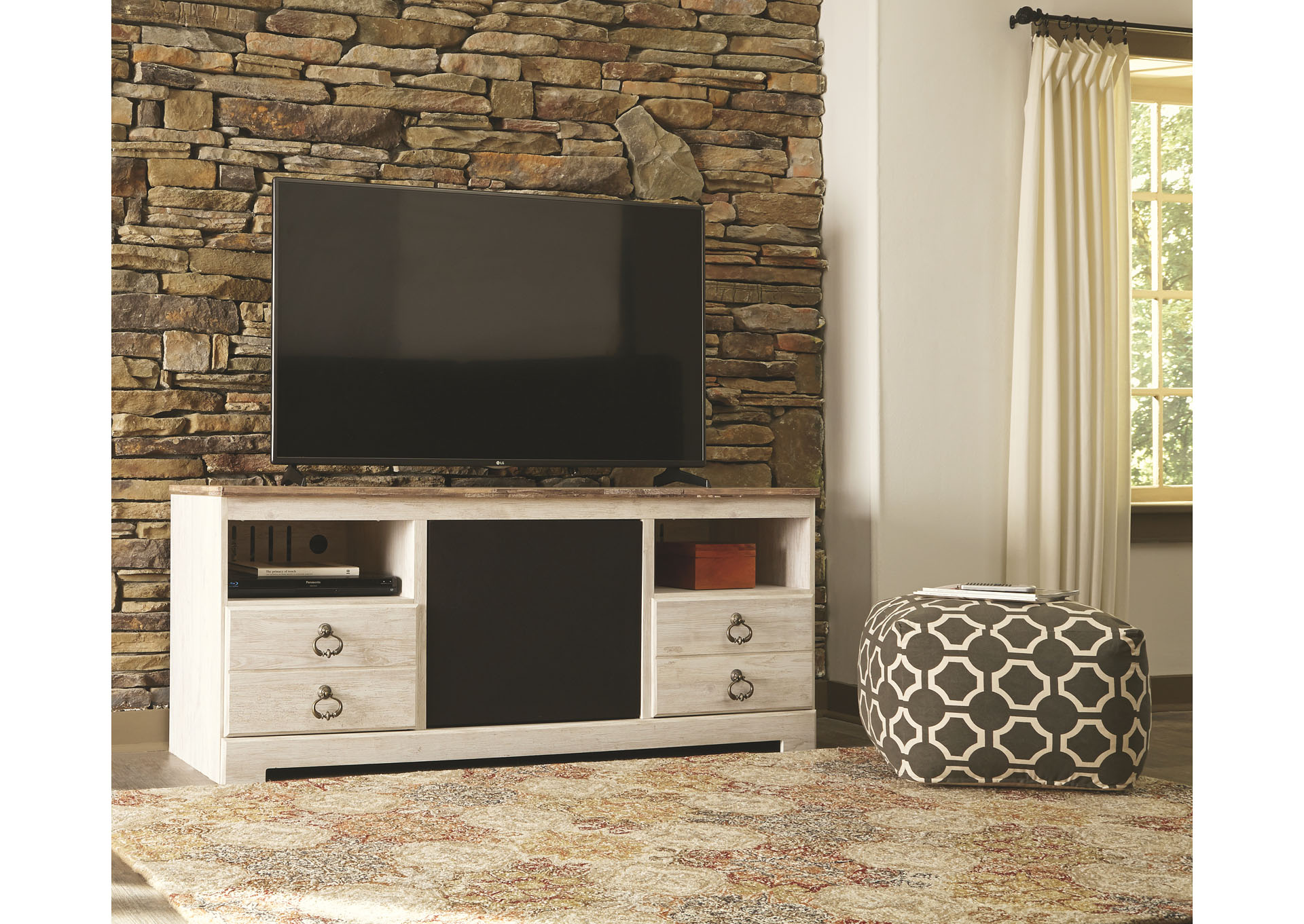 Willowton Whitewash Large TV Stand w/Large Integrated Audio,ABF Signature Design by Ashley