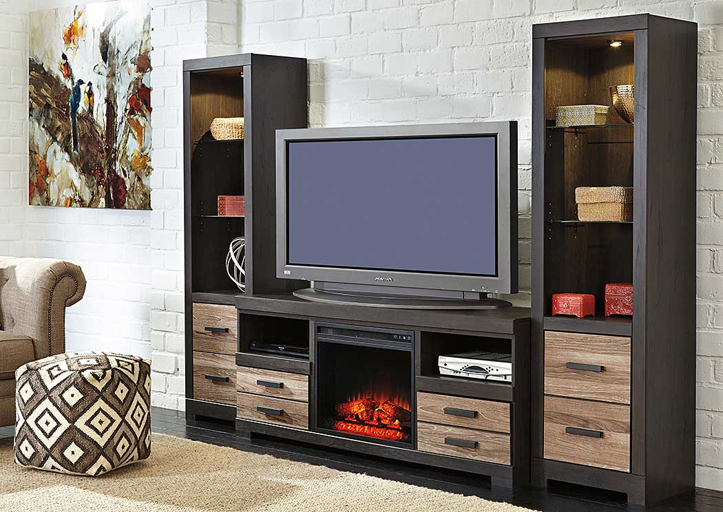 Harlinton Large TV Stand w/ Piers & LED Fireplace Insert,ABF Signature Design by Ashley