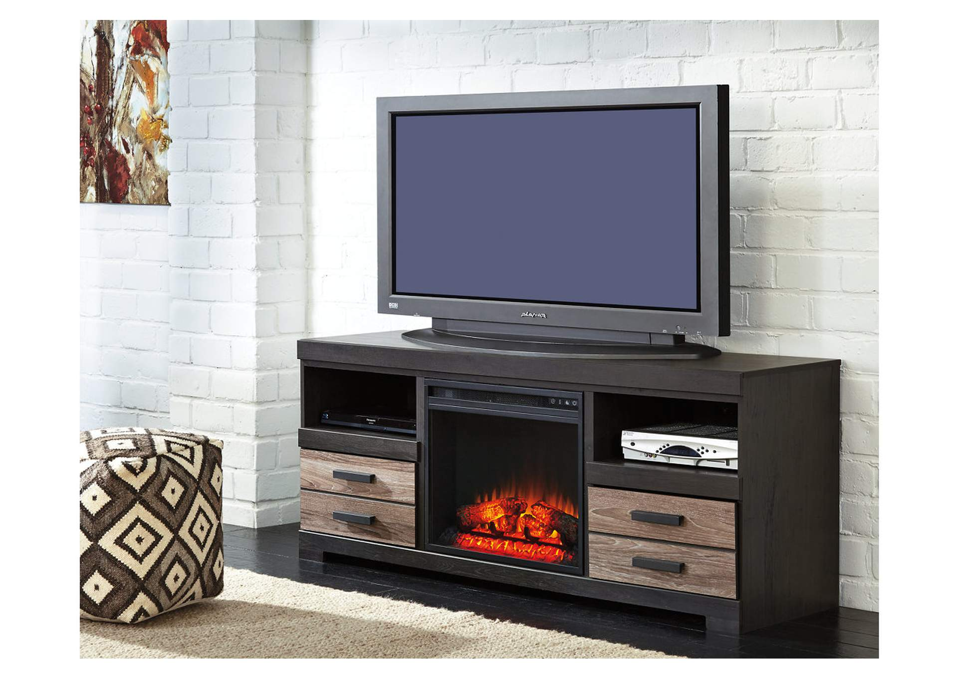 Harlinton Large TV Stand w/LED Fireplace Insert,Signature Design By Ashley