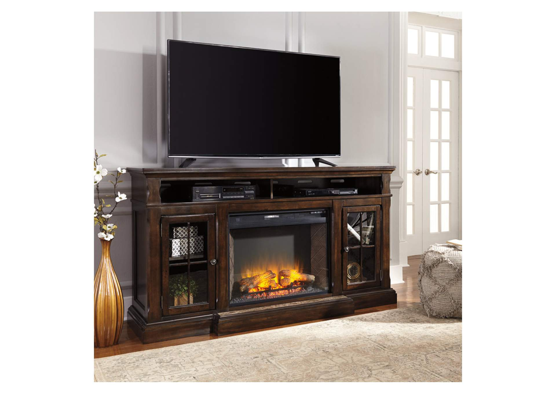 Roddinton XL TV Stand w/Fireplace,Signature Design By Ashley