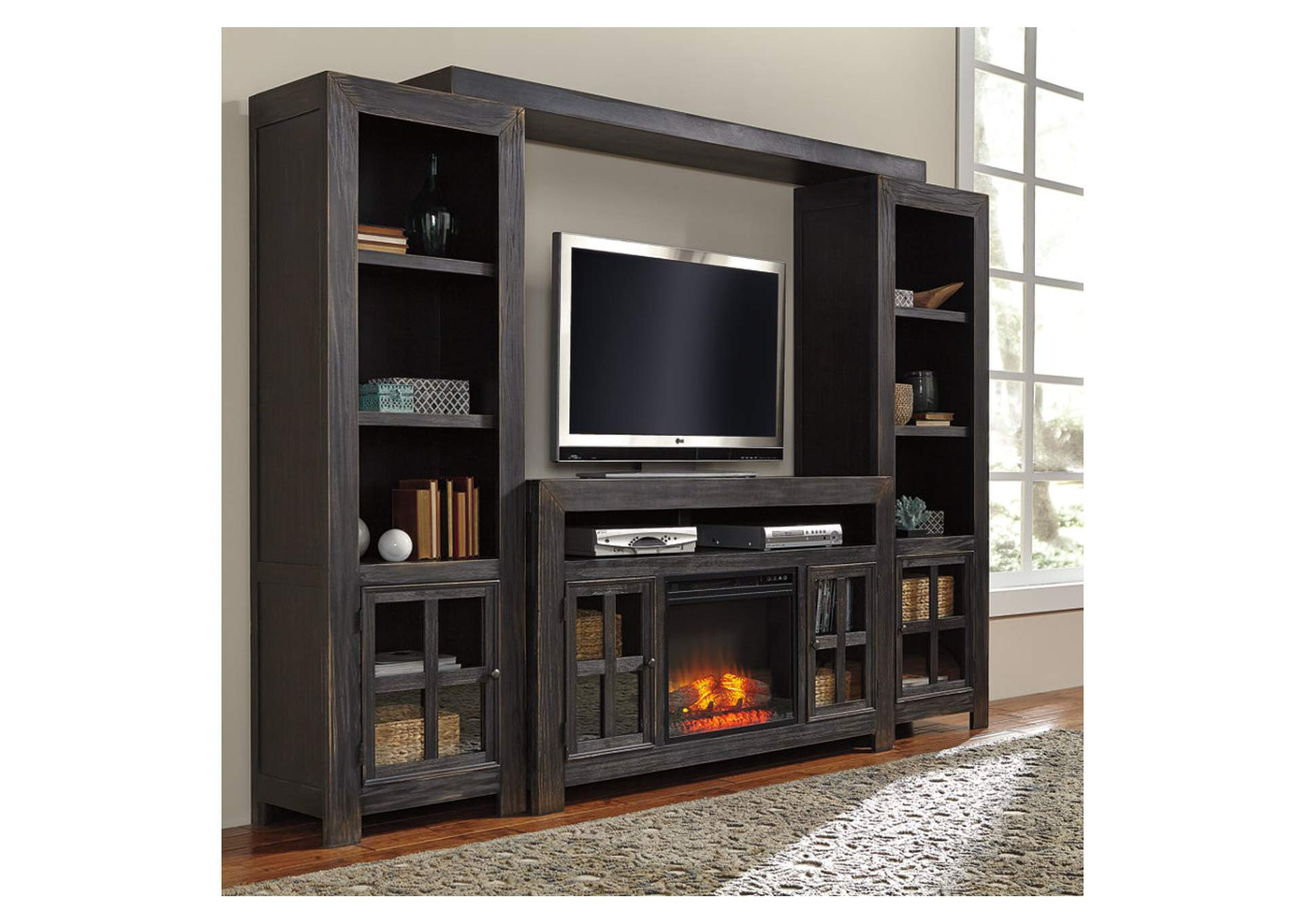 Gavelston Black Entertainment Center w/LED Fireplace Insert,Signature Design By Ashley