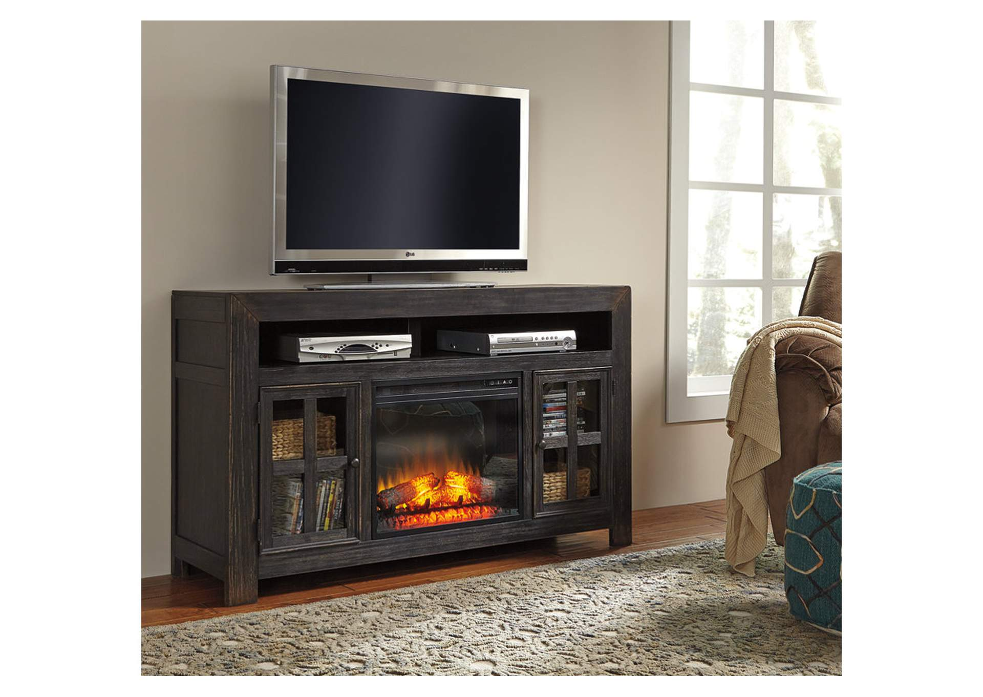 Woods Furniture TX Gavelston Large TV Stand wLED Fireplace Insert