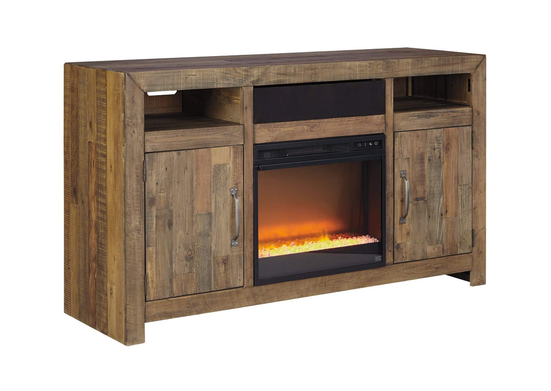 Sommerford Brown Large TV Stand w/Fireplace and Small Integrated Audio,Signature Design By Ashley