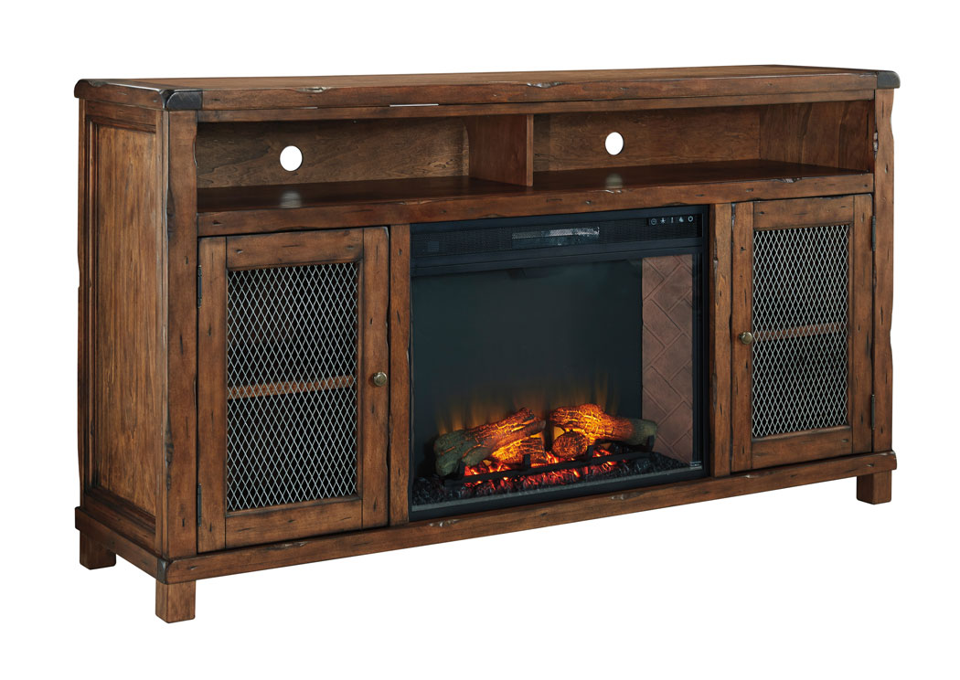 Alabama Furniture Market Tamonie Rustic Brown Xl Tv Stand With Led Fireplace