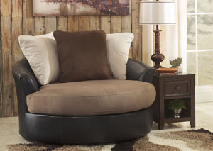 Masoli Mocha Oversized Swivel Accent Chair