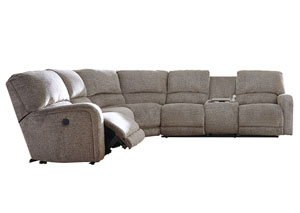 Pittsfield Fossil Left Facing Double Power Reclining Loveseat Sectional w/Console
