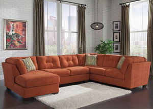 Delta City Rust Left Arm Facing Corner Chaise Sectional