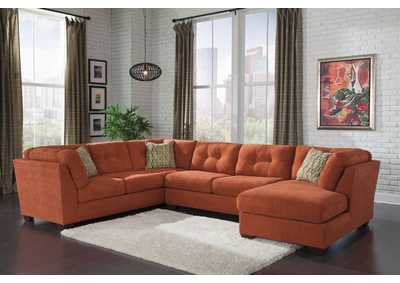 Delta City Rust Right Arm Facing Corner Chaise Sectional,Benchcraft