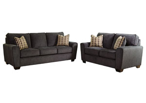 Landoff Black Sofa and Loveseat