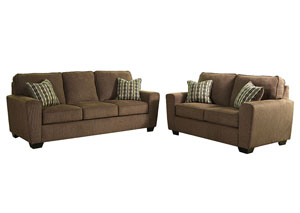 Landoff Walnut Sofa and Loveseat