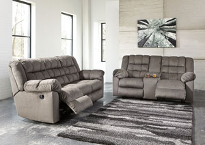 Mort Charcoal Reclining Sofa and Loveseat w/Console