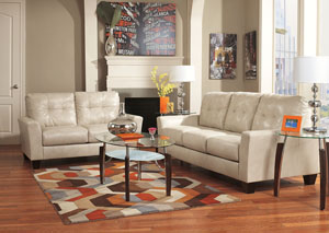 Paulie DuraBlend Taupe Sofa & Loveseat and Chaise,Benchcraft