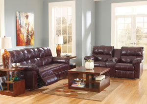 Kennard Burgundy Reclining Sofa & Loveseat