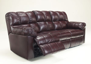 Kennard Burgundy Reclining Sofa
