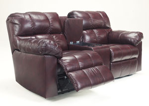 Kennard Burgundy Double Reclining Loveseat w/Console