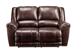 Yancy Walnut Reclining Power Loveseat,Signature Design by Ashley