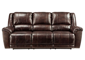 Yancy Walnut Reclining Power Sofa,Signature Design by Ashley
