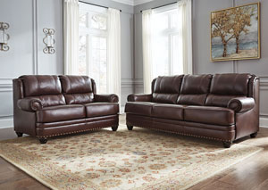 Glengary Chestnut Sofa and Loveseat,Signature Design by Ashley