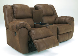 Quarterback Canyon Double Reclining Loveseat w/ Console,Benchcraft