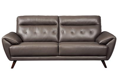 Sissoko Gray Leather Sofa