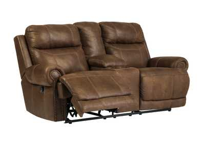 Austere Brown Double Reclining Power Loveseat w/Console