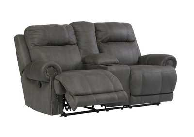 Austere Gray Double Reclining Power Loveseat w/Console,Signature Design by Ashley