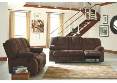 Roan Cocoa Reclining Sofa and Loveseat