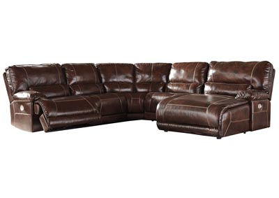 Killamey Walnut Extended Right Facing Press Back Power Chaise Recliner Sectional
