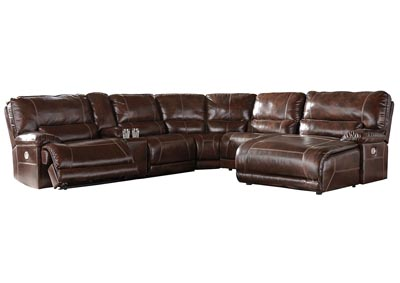 Killamey Walnut Extended Right Facing Press Back Power Chaise Recliner Sectional w/Console