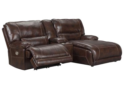 Killamey Walnut Right Facing Press Back Power Chaise Recliner Sectional w/Console