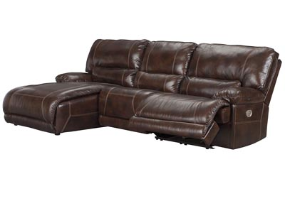 Killamey Walnut Left Facing Press Back Power Chaise Recliner Sectional