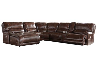 Killamey Walnut Extended Left Facing Press Back Power Chaise Recliner Sectional w/Console