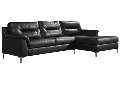 Tensas Black Right Arm Facing Sectional