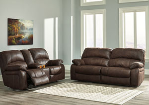 Zavier Truffle 2 Seat Reclining Sofa and Loveseat w/Console