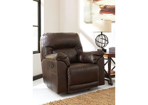 Barrettsville DuraBlend® Chocolate Rocker Recliner,Benchcraft