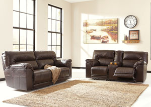 Barrettsville DuraBlend® Chocolate 2 Seat Reclining Sofa & Loveseat,Benchcraft