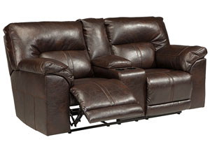 Barrettsville DuraBlend® Chocolate Double Reclining Loveseat w/Console,Benchcraft