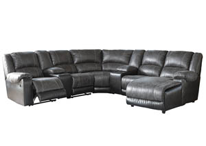 Nantahala Slate Right Facing Corner Chaise Sectional w/2 Storage Consoles