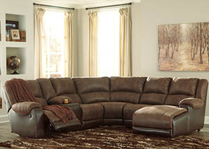 Nantahala Coffee Right Facing Corner Chaise Sectional w/Storage Console