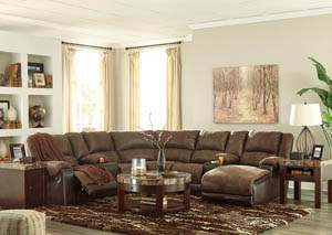 Nantahala Coffee Right Facing Corner Chaise Sectional w/2 Storage Consoles