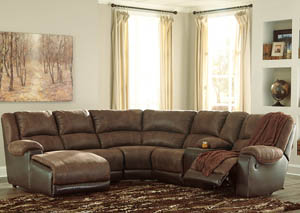 Nantahala Coffee Left Facing Corner Chaise Sectional w/Storage Console