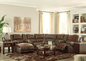Nantahala Coffee Left Facing Corner Chaise Sectional w/2 Storage Consoles