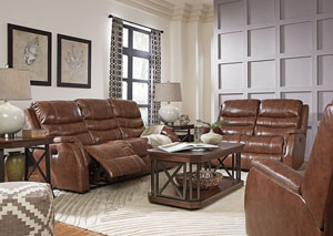 Metcalf Nutmeg Power Reclining Sofa w/Adjustable Headrest,Signature Design By Ashley