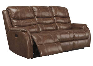 Metcalf Nutmeg Power Reclining Sofa w/ Adjustable Headrest