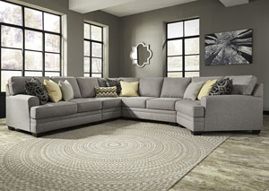 Cresson Pewter Left Facing Loveseat Cuddler Sectional