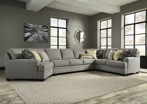 Cresson Pewter Right Facing Loveseat Cuddler Sectional