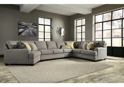 Cresson Pewter Left Facing Cuddler Loveseat Sectional