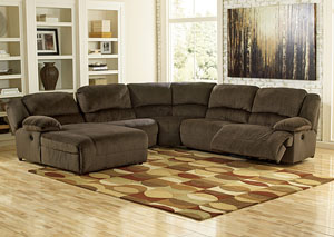 Toletta Chocolate Left Facing Chaise End Reclining Sectional